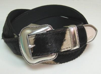Burchell Zebra Hide Belt with 3 Part Buckle