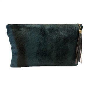 Denim Blue Springbok & Leather Folio Clutch Purse StyleA