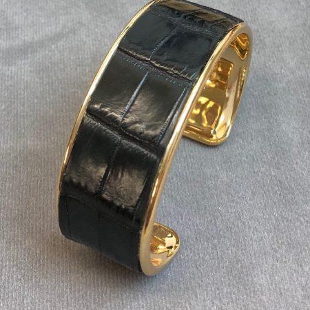Crocodile Skin Channel Cuff / Bracelet - Black - Gold Narrow