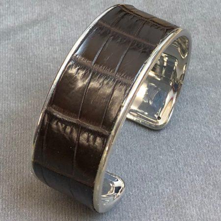 Crocodile Skin Channel Cuff / Bracelet - Brown