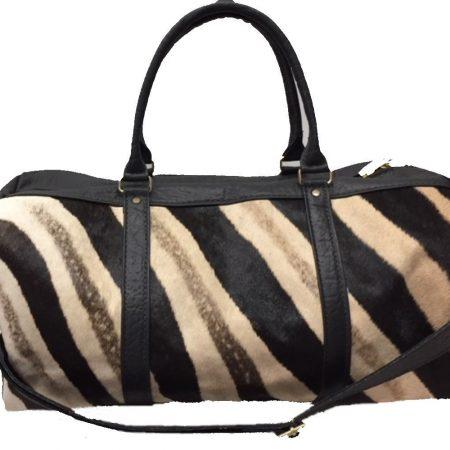 Black or Brown Zebra & Cape Buffalo Hide Duffel Bag