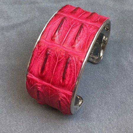 Crocodile Skin Channel Cuff / Bracelet - Pink - Silver Wide