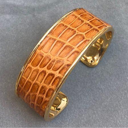 Crocodile Skin Channel Cuff / Bracelet - Tan - Gold Narrow