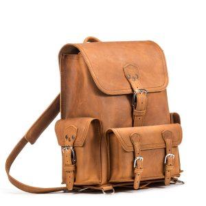 Front Pocket Leather Backpack